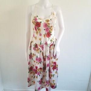 Vtg Victorias Secret Silky Satin Floral Slip Dress
